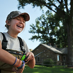 Thirteen-year-old Mollie Watson laughs at herself after discovering a mistake assembling her fly rod during 'Adrenalin Camp' with Joey's Fly Fishing Foundation Tuesday at the Kimble Ra ...