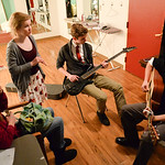 "Division 4 contestants, from left, Brynn Bateman, Will Craft and Tommy clift practice their song in the dressing room during the dress rehearsal for the Sheridan Kiwanis ""Stars of Tomorrow ..."
