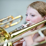SHS graduate Zoe Sherman plays the Trombone during the Concert in the Park performance by the Sheridan Concert Band Tuesday evening at Kendrick Park. Sherman will be going to the University  ...