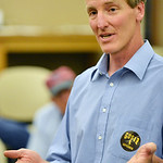 Democratic gubernatorial candidate Pete Gosar speaks in the Inner Circle Room at the Sheridan County Fulmer Public Library on Tuesday. Gosar is the only candidate running for Wyoming Governo ...