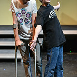 "Culley Emborg as Archie, left, and Landon Alsup as Evan sing in a musical number where Evan convinces Archie to ask a girl on a date, ""No one says no to a boy with a  terminal illness,""  ..."