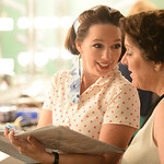"""Becki Arneson, left, and Kaleen Juergens run over production notes in the dressing room for """"42nd Street"""" during the 25th Anniversary Gala Saturday at the WYO Theater. Justin Sheely