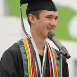Salutatorian Casey Caywood delivers the Salutatorian Address during the class of 2015 graduation ceremony Sunday at Tongue River High School in Dayton. Justin Sheely/The Sheridan Press.