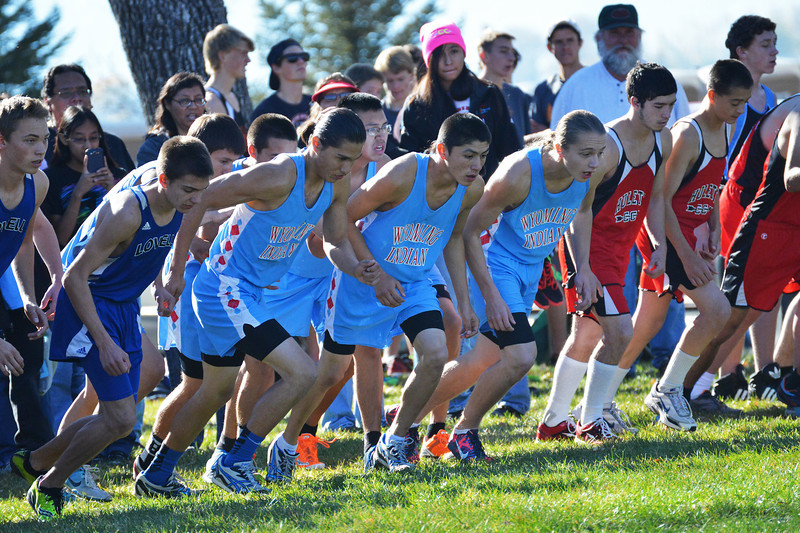 Wyoming Indian runners take off with the other 2A boys racers 2013 Wyoming State Cross Country Meet Saturday at the VA Medical Center in Sheridan. Wyoming Indian won the team title Saturday. (The Sheridan Press/Brad Estes)