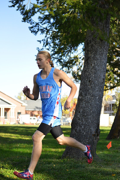 Wyoming Indian junior Tyler Pentac runs during the 2013 Wyoming State Cross Country Meet Saturday at the VA Medical Center in Sheridan. He was sixth in the 2A boys race with a time of 17:54.94. (The Sheridan Press/Brad Estes)