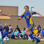 Midfielder Megan Meyers tracks a ball May 3 in Gillette.