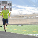 Distance runner Collin Powers runs around the track Tuesday at Big Horn High School. This week was the first official week of practice for outdoor track and field athletes. Mike Pruden | The ...