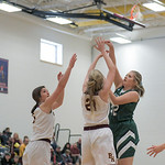 Ashleigh Snoozy | The Sheridan PressTongue River's Sadie Koltiska (42) goes up for a shot against the Big Horn High School defense Saturday, Jan. 18, 2020.