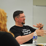 Ryan Patterson   The Sheridan PressStudent Dave Flannery signs during an American Sign Language 3 class at the Sheridan College Mars Agriculture Center Thursday, Oct. 18, 2018. The classes  ...