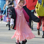 Justin Sheely | The Sheridan Press Holy Name Catholic School Kindergartener Angel Shurter skips along as students walk to attend Mass on Ash Wednesday at Holy Name Catholic Church. Ash Wedne ...