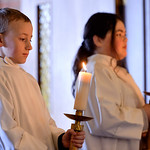 Justin Sheely | The Sheridan Press DJ Elchlinger, left, and Tennyson Lewallen hold candles for the altar service during Mass on Ash Wednesday at Holy Name Catholic Church. Ash Wednesday mark ...