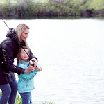 Matthew Gaston | The Sheridan PressBig Horn Elementary School kindergarten teacher Kayla Woodward teaches Ever Poll, 6, how to cast at Wilson Reservoir Thursday, May 23, 2019.