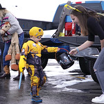 Matthew Gaston | The Sheridan PressThe Harris kids, Charlotte, left, and Nolan, dressed as Optimus Prime and Bumblebee respectively, trick-or-treat at Fremont Motors Thursday, Oct. 31, 2019.