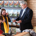 Matthew Gaston | The Sheridan PressFrom left, Skylar Chase and Korah Condos, 5th-graders from Henry A. Coffeen Elementary School present Mayor Roger Miller with Sheridan tourism pamphlets th ...