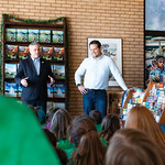 Matthew Gaston | The Sheridan PressMayor Roger Miller left, and Executive Director of Travel and Tourism Shawn Parker answer questions about their jobs for 5th-graders from Henry A. Coffeen  ...