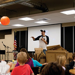 Matthew Gaston | The Sheridan PressKeegan Jenness explains the rules of the contest to the childern gathered for the Kids Life/Impact Pumpkin Drop at The Hub Friday, Oct. 19, 2018.