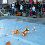 Matthew Gaston | The Sheridan PressA pumpkin explodes as it hits the ground to the delight of the childern gathered at The Hub for the Kids Life/Impact pumpkin drop Friday, Oct. 19, 2018.