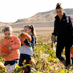 Matthew Gaston | The Sheridan PressSonorah Willis (5) and Jeules Busch (5), from left, are accompined by Jeules mother Candice Busch on a field trip to Koltiska's Pumpkin Patch to pick out ...