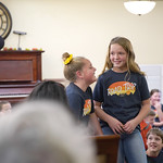 Matthew Gaston | The Sheridan PressAshton Verley, left, and Lexi Stanger giggle their way through a duet they performed for seniors at Elmcroft of Sugarland Thursday, Nov. 21, 2019.