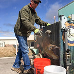 Courtesy photo | Meg MazeBrad Welch, Tillett Springs Rearing Station hatchery superintendent, explains his process of transferring rainbow trout into buckets from his truck to be released in ...