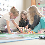 "Matthew Gaston | The Sheridan PressDuring ""work time"" at Head Start, from left, Fable Trueblood, Isabell Schwarzbach and September Knox play with blocks, wooden track and trains Tuesday, ..."