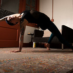 Matthew Gaston | The Sheridan PressAsia Stockwell performs the Camatkarasana (wild thing) pose in the waiting room at Maven Massage and Bodywork Wednesday, April 1, 2020. While the massage s ...