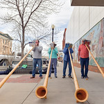 Matthew Gaston | The Sheridan PressThe Big Horn Alphorns play on a street corner in Sheridan Saturday, April 20, 2019. The alphorn is a labrophone, consisting of a straight several-meter-lon ...