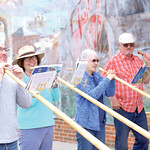 Matthew Gaston | The Sheridan PressThe Big Horn Alphorns, from left, Ryan Schasteen, Edre Maier, Patricia Dray and Dale Hoffmann play handmade alphorns on the corner of Grinnell Plaza and Ma ...