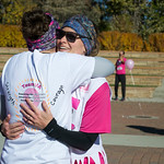Ashleigh Fox | The Sheridan PressMegan Taylor hugs a friend following The Link — Partners in Pink run Saturday, Oct. 20, 2018. Proceeds for the event go to early cancer detection and scree ...