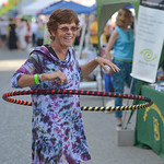 Justin Sheely | The Sheridan Press Tracy Morrin of Riverton, Wyoming, plays with a hulahoop during the first Third Thursday street festival this summer on Main Street.