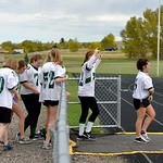 Justin Sheely | The Sheridan Press Freshmen/sophomore girls walk onto the field to faceoff the senior/junior players for powderpuff football Thursday at Tongue River High School. TRHS varsit ...