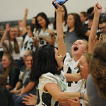 Justin Sheely | The Sheridan Press Freshman Reagan Mulaney celebrates with her classmates after the feshmen class wins the class cheer-off during the homecoming pep assembly Thursday at Tong ...