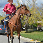 Justin Sheely | The Sheridan Press Tom Ogle sits on his horse as he watches the Tongue River High School Homecoming Parade on Friday in Dayton.