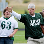 Justin Sheely | The Sheridan Press Mark Fritz officiates during powderpuff football Thursday at Tongue River High School. TRHS varsity volleyball plays Moorcroft at 4 p.m. and Eagles footbal ...