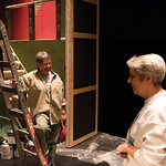"Matthew Gaston | The Sheridan PressPaulette Kucera, left and Pat Trout, right, are all smiles while putting on the finishing touches to the set for the WYO Theatre's production of ""The A ..."