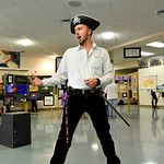 "Justin Sheely | The Sheridan Press Grant Keller sings as ""The Pirate King"" during the Soup Bowl fundraiser Tuesday evening at Tongue River High School. The event supports the Tongue Rive ..."