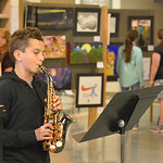 Justin Sheely | The Sheridan Press Seventh-grader Wes Beadele plays the soprano saxophone during the Soup Bowl fundraiser Tuesday evening at Tongue River High School. The event supports the  ...