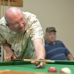 Justin Sheely | The Sheridan Press Richard Hensinger reacts after missing a shot during the pool tournament Wednesday morning at the Sheridan Senior Center. The Sheridan Senior Center and th ...
