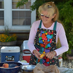 Justin Sheely | The Sheridan Press Diane Hoffman of Story preps peaches for peach cobbler for the Dutch Oven Cook-off during Story Days Friday at the Story Women's Club. Entrants compete i ...