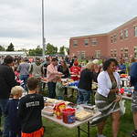 Justin Sheely | The Sheridan Press Students and families gather food during the back to school celebration Wednesday at Big Horn Schools. The event provided an opportunity for teachers to me ...