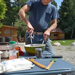 Justin Sheely | The Sheridan Press Don Martin mixes ingredients for the Dutch Oven Cook-off during Story Days Friday at the Story Women's Club. Entrants compete in two categories for a $10 ...