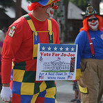 Justin Sheely | The Sheridan Press A Kalif Shrine clown marches up the street during the 29th Annual Story Days Parade Saturday in Story.