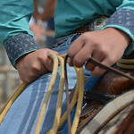 Justin Sheely | The Sheridan Press A roper waits on his horse behind the chutes during the Elks Youth Rodeo Saturday at the Sheridan County Fairgrounds.