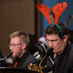 Justin Sheely | The Sheridan Press Brad Gregorich plays the baritone Saxophone during the Sheridan College Jazz Ensemble's Christmas Swing concert Thursday in the Whitney Center for the Ar ...