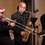 Justin Sheely | The Sheridan Press Dr. Eric Richards, Director of Bands and Jazz Studies, left, and special guest Tab Barker perform during the Sheridan College Jazz Ensemble's Christmas S ...