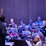 Justin Sheely | The Sheridan Press Dr. Mark Bergman conducts the choir during a rehearsal Sunday for Handel's Messiah in the Whitney Center for the Arts concert hall at Sheridan College.