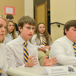 Justin Sheely | The Sheridan Press Sheridan students, from left, Emmalee Hoopes, Matthew Eisenhauer and Robert Welborn answer questions during the We the People rehearsal Tuesday at the Sher ...