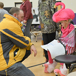 Justin Sheely | The Sheridan Press Getty Babbitt, left, listens as Gabby Koval reads facts about flamingos during the Animal Wax Museum Wednesday at Woodland Park Elementary School. Each stu ...