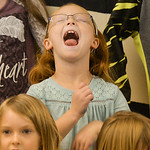 Justin Sheely | The Sheridan Press Seven-year-old Kate Harper makes a face during the Kids Chorus program Thursday at the YMCA. The program is offered for kids Kindergarten through third gra ...