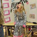 Justin Sheely | The Sheridan Press First-grader Tori Hunter, as a zebra, answers questions from a visitor during the Animal Wax Museum Wednesday at Woodland Park Elementary School. Each stud ...